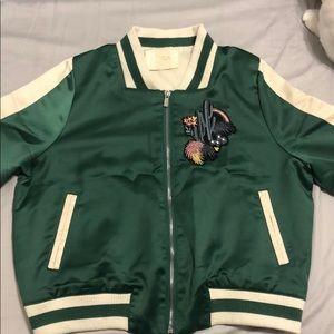 Maje green satin bomber jacket